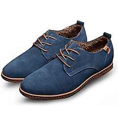 Men's Leather Shoes Suede Spring / Fall Comfort Oxfords Slip Resistant Black / Brown / Blue / Party & Evening / Suede Shoes / Novelty Shoes
