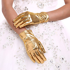 cheap Party Gloves-Faux Leather Wrist Length Glove Bridal Gloves With Ruffles