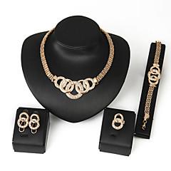 בגדי ריקוד נשים סט תכשיטים שרשרת וצמידים תכשיטים גדולים פסטיבל/חג חתונה Party יום הולדת יומי קזו'אל סגסוגת עגול טבעות עגילים שרשראות צמיד