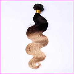 お買い得  グラデーションカラー・ヘアエクステンション-ペルービアンヘア ウェーブ バージンヘア オンブル' 1バンドル 人間の髪織り ブラック 人間の髪の拡張機能