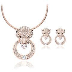 女性 ジュエリーセット ぜいたく ファッション 結婚式 パーティー 日常 カジュアル ラインストーン 円形 幾何学形 1×ネックレス 1×イヤリング(ペア)