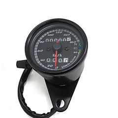 tanie Części do motocykli i quadów-czarny 12v Wskaźnik prędkościomierza motocykl skuter drogomierza 0-160km / h Prędkość motocykla podwójny podświetlany miernik ze