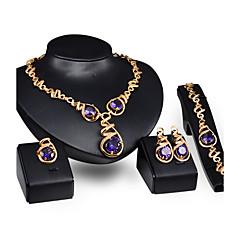 baratos Conjuntos de Bijuteria-Mulheres Amethyst Sintético Conjunto de jóias - Cristal Incluir Roxo Para Casamento / Festa / Anéis / Colares