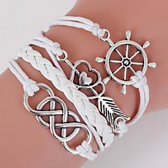 billige -retro stil flerlags hvid anker hjerte elsker væve wrap armbånd med nitte