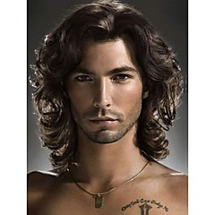 cheap Costume Wigs-Synthetic Wig Men's Wavy With Bangs Synthetic Hair Side Part Wig Short / Medium Length Capless Black StrongBeauty
