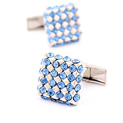 Fashion Copper Men Gift Jewelry Silver Crystal Cz Square Shirt Button Cufflinks(1Pair)