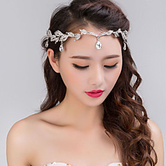 Bride's Golden Leaves Rhinestone Forehead Wedding Headbands 1 Pieces