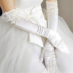 preiswerte Handschuhe für die Party-Polyester Satin Opernlänge Handschuh Klassisch Brauthandschuhe With Einfarbig