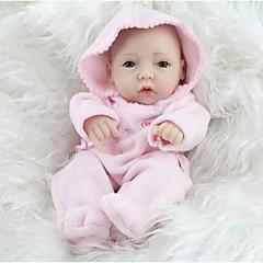 preiswerte Puppen-npkdoll reborn Mädchen hart Babypuppe Silikon 11inch 28cm wasserdicht Spielzeug mit Kapuze Kleidung rosa