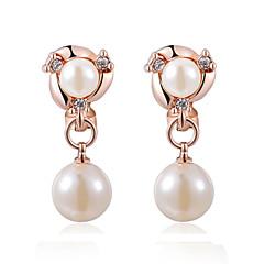 お買い得  ファッションピアス・イヤリング-女性用 真珠 真珠 人造真珠 キュービックジルコニア クリップイヤリング  -  シルバー ローズゴールド イヤリング 用途