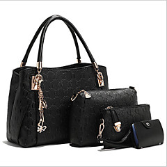 Mulheres Bolsas PU Tote / Conjuntos de saco 3 Pcs Purse Set Floral Branco / Preto / Azul / Conjuntos de sacolas