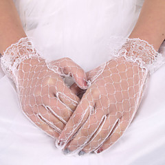 cheap Party Gloves-Lace Cotton Elastic Satin Wrist Length Glove Charm Stylish Bridal Gloves With Embroidery Solid