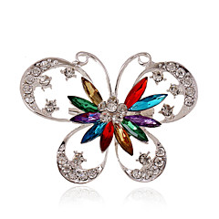 cheap Brooches-Women's Butterfly Rhinestone / Silver Plated / Imitation Diamond - Personalized / Luxury / Statement Animal Blue / Rainbow Brooch For