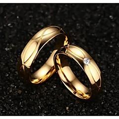 billige Motering-Dame Statement Ring - Titanium Stål, Gullbelagt Mote 5 / 6 / 7 / 8 / 9 Gylden Til Bryllup Fest Daglig