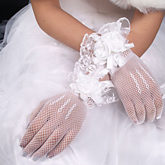 cheap Party Gloves-Polyester Elastic Satin Net Wrist Length Glove Classical Bridal Gloves With Solid