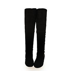 レディース 靴 レザーレット 春 秋 冬 コンフォートシューズ ウェッジヒール ロングブーツ 用途 ドレスシューズ ブラック