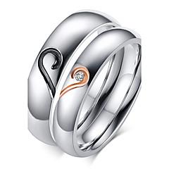 billige Motering-Dame Parringer Band Ring - Zirkonium, Titanium Stål, Gullbelagt Hjerte, Kjærlighed Fødselsstein 5 / 6 / 7 / 8 / 9 Sølv Til Bryllup Fest Gave