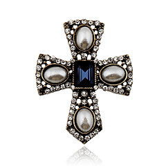 cheap Brooches-Women's Crystal Vintage Statement Jewelry Victorian European Pearl Crystal Imitation Pearl Rhinestone Alloy Cross Jewelry For Party Daily