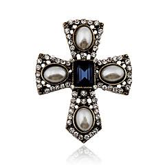 billige Motebrosjer-Dame Krystall Vintage Erklæringssmykker Victoriansk Europeisk Perle Krystall Imitert Perle Strass Legering Kors Smykker Til Fest Daglig