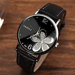 Жен. Модные часы Кварцевый PU Группа Цветы Черный Коричневый