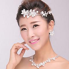結婚式のパーティーのための女性のシルバークリスタルパールヘッドバンドの額の髪の宝石