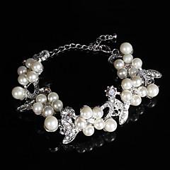 levne Náramky-dámské řetězové náramek slitiny imitace perla / rhinestone elegantní styl