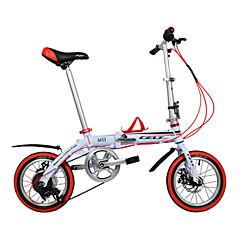 מתקפל אופניים האופניים של ילדים רכיבת אופניים 6 מהירויות 14 אינץ' Shimano דיסק בלימה כפול רגיל שלדת סגסוגת אלומיניום קיפול