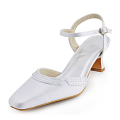 Womenu0027s Shoes Stretch Satin Spring / Summer Chunky Heel Crystal / Buckle  White / Silver / Ivory / Wedding / Party U0026 Evening