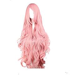 billiga Peruker och hårförlängning-Syntetiska peruker / Kostymperuker Vågigt / Löst vågigt Med lugg Syntetiskt hår Sidodel Rosa Peruk Dam Väldigt länge Kostym Peruk /