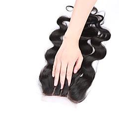 billiga Peruker och hårförlängning-Kroppsvågor Hel-spets 3.5x4 Stängning 100 % handbundet Schweizisk spetsperuk Äkta hår Fria delen Mittparti 3 Del