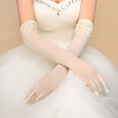 cheap Party Gloves-Spandex Elbow Length Glove Bridal Gloves Party/ Evening Gloves With Beading