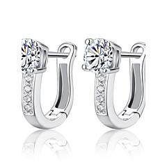 cheap Earrings-Women's Hoop Earrings - Sterling Silver, Silver Birthstones Silver For Wedding / Party / Daily