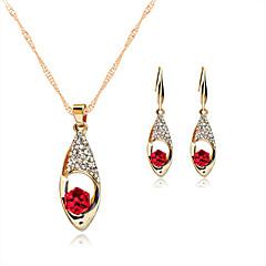 Χαμηλού Κόστους Σετ Κοσμημάτων-Γυναικεία Κρυστάλλινο Rose Gold Κρύσταλλο Στρας Με Επίστρωση Ροζ Χρυσού Κοσμήματα Σετ Cercei Κολιέ - Κόκκινο Πράσινο Μπλε Σετ Κοσμημάτων