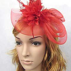 abordables Tocados de Fiesta-Lino Pluma Red Diademas Fascinators 1 Boda Celada
