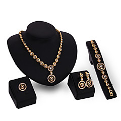 baratos Conjuntos de Bijuteria-Mulheres Conjunto de jóias - Strass, Chapeado Dourado Clássico, Fashion, Euramerican Incluir Dourado Para Ocasião Especial Parabéns Noivado / Anéis