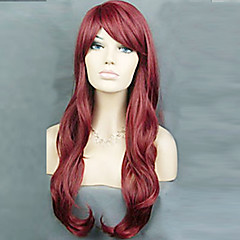 cheap Wigs & Hair Pieces-Synthetic Wig Women's Curly / Loose Wave / Natural Wave Burgundy Layered Haircut Synthetic Hair 22 inch Natural Hairline Burgundy Wig Long Capless Red Wine