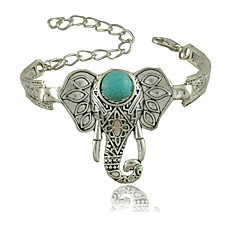 cheap -Women European Style Retro Fashion Bohemian Ethnic Carved Elephant Proboscis Turquoise Bracelet
