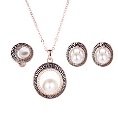 Lucky Doll Alloy / Imitation Pearl / Rhinestone / Rose Go ld Plated Jewelry Set 3 pcs Wedding / Party / Daily 1set