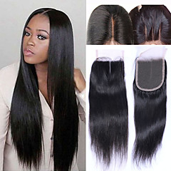 cheap Wigs & Hair Pieces-Brazilian Hair 4x4 Closure Straight / Classic Free Part / Middle Part / 3 Part Swiss Lace Human Hair Daily