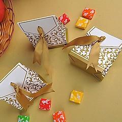 preiswerte Gastgeschenk Boxen & Verpackungen-Pyramide Kreativ Kartonpapier Geschenke Halter mit Muster Geschenkboxen Geschenktaschen Zuckertüten Plätzchen Beutel Geschenk Schachteln