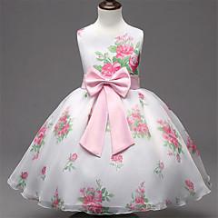 Mädchen Kleid Ausgehen Blumen Kunstseide Sommer Ärmellos
