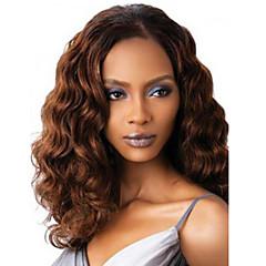 billiga Peruker och hårförlängning-Syntetiska peruker Stora vågor Syntetiskt hår Brun Peruk Dam Utan lock Mörkbrun