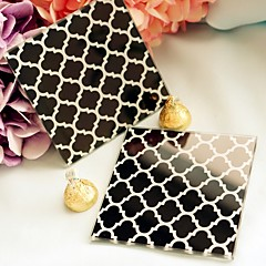"""Timeless Traditions"" Elegant Black & White Glass Coasters Wedding Favors"