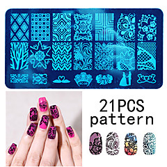10PCS Nail Art Seal Template Nail Lace Pattren Give 1 Set Seal Tool 12x6CM