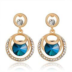 ファッション ステートメントジュエリー 高級ジュエリー クリスタル 模造ダイヤモンド 円形 クロス ブルー ジュエリー のために パーティー 日常 カジュアル 1ペア