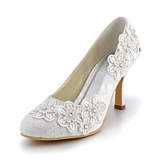 Women's Shoes Silk Stiletto Heel Heels / Round Toe Heels Wedding / Party & Evening / Dress White