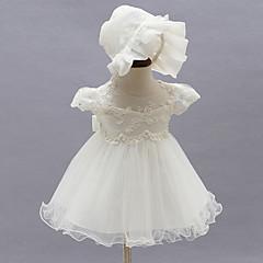 billige Babykjoler-Baby Pige Rosette / Pænt tøj Fest Blomstret Kortærmet Kjole