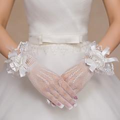 billige Festhandsker-Blonde Polyester Net Håndledslængde Handske Brudehandsker Fest-/aftenhandsker With Blomster