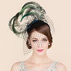 cheap Party Headpieces-Tulle Feather Fascinators Hats 1 Wedding Special Occasion Casual Headpiece