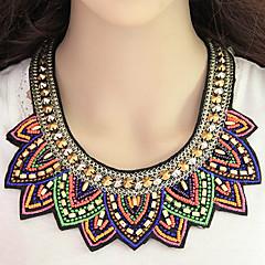 女性 ステートメントネックレス 樹脂 ファブリック 合金 ファッション ボヘミアスタイル 虹色 ジュエリー パーティー 日常 1個